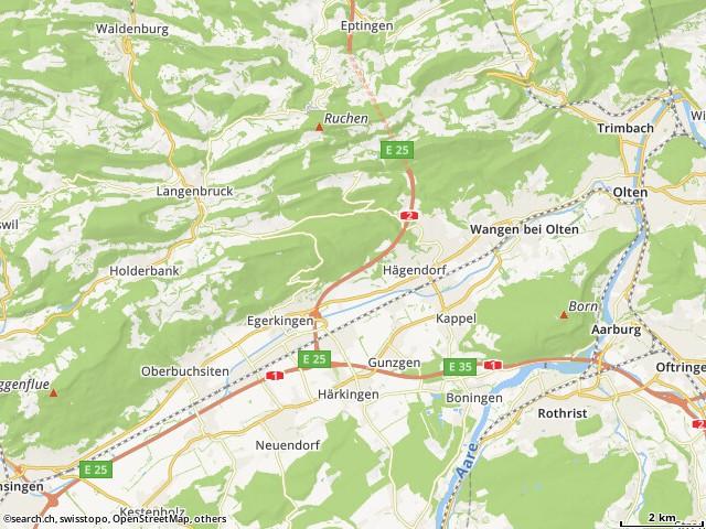 Route von Autobahn, Arisdorf nach Wangen bei Olten