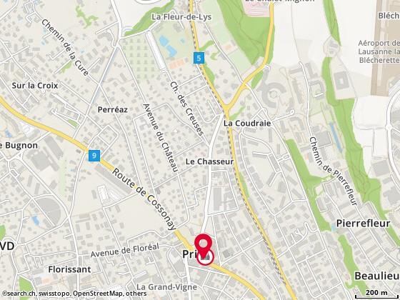 Carte: Pharmacie de Prilly, Prilly, route de Cossonay 28
