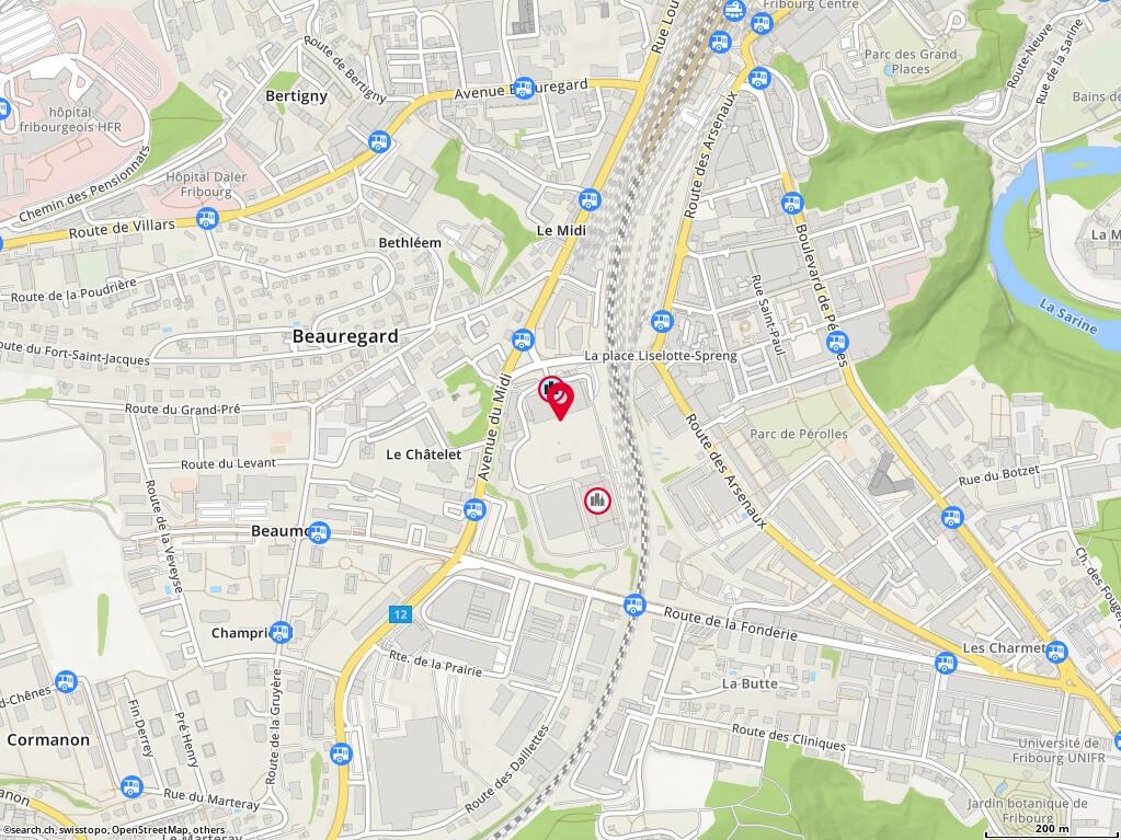 Carte: Bluefactory Fribourg-Freiburg SA, Fribourg, passage du Cardinal 1