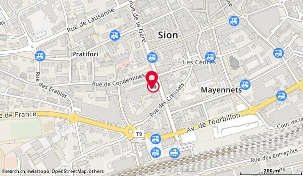 Karte: Office cantonal AI,  Sion,  avenue de la Gare 15