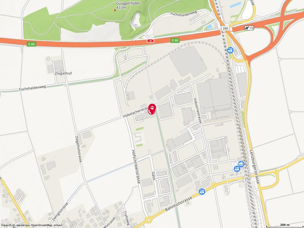 Karte: Polytech Systeme AG, Lupfig, Huebelacherstr. 15