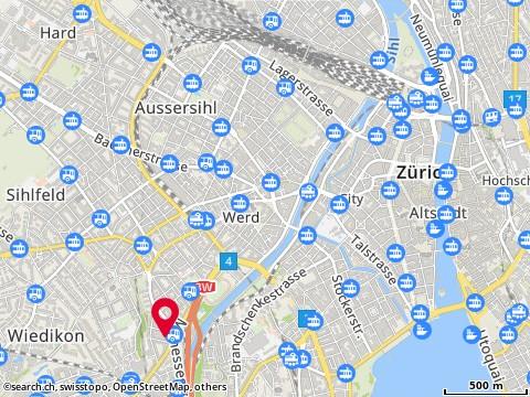 Carte: Geonex Knowledge Media, Zürich, Hopfenstr. 10
