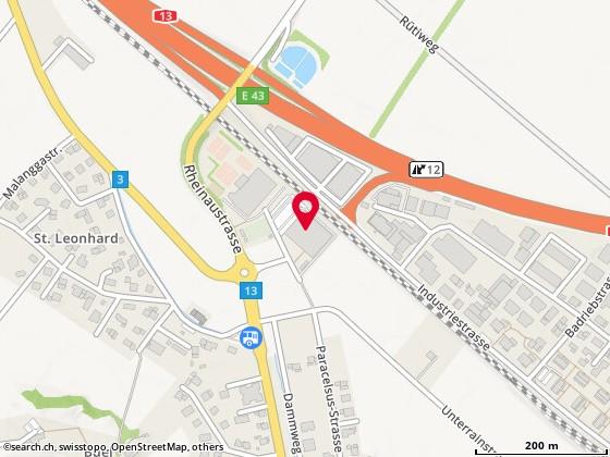 Karte: Sporthalle, Bad Ragaz, Badriebweg