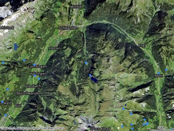 Route von Glarus nach Kies (Niederental)