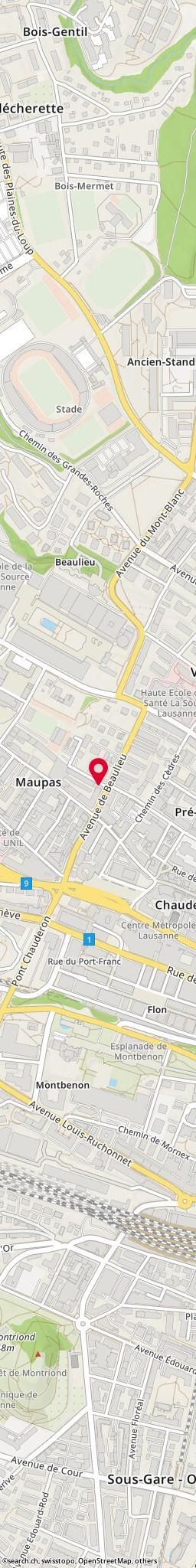 Carte: rue du Petit-Beaulieu 1, Lausanne - vue détaillée