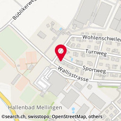 Map: Sportweg 23, Mellingen/AG - detail view