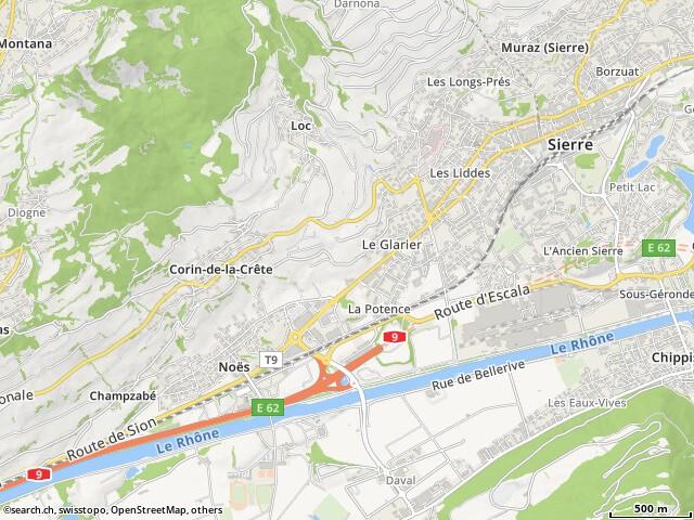 Route de Centre Commerciale Placette, Sierre à Rte de Sion 6, Sierre