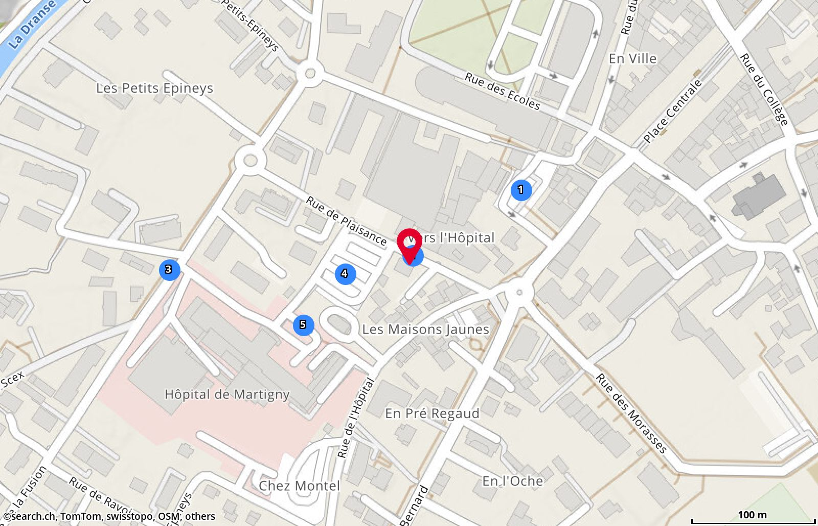 Map: Martigny, Rue de Plaisance 1
