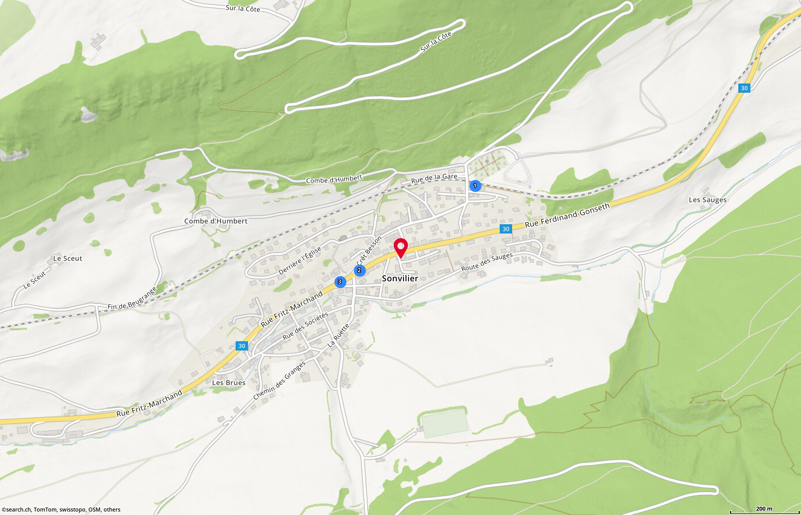 Map: Sonvilier, Pass. de l'If 1