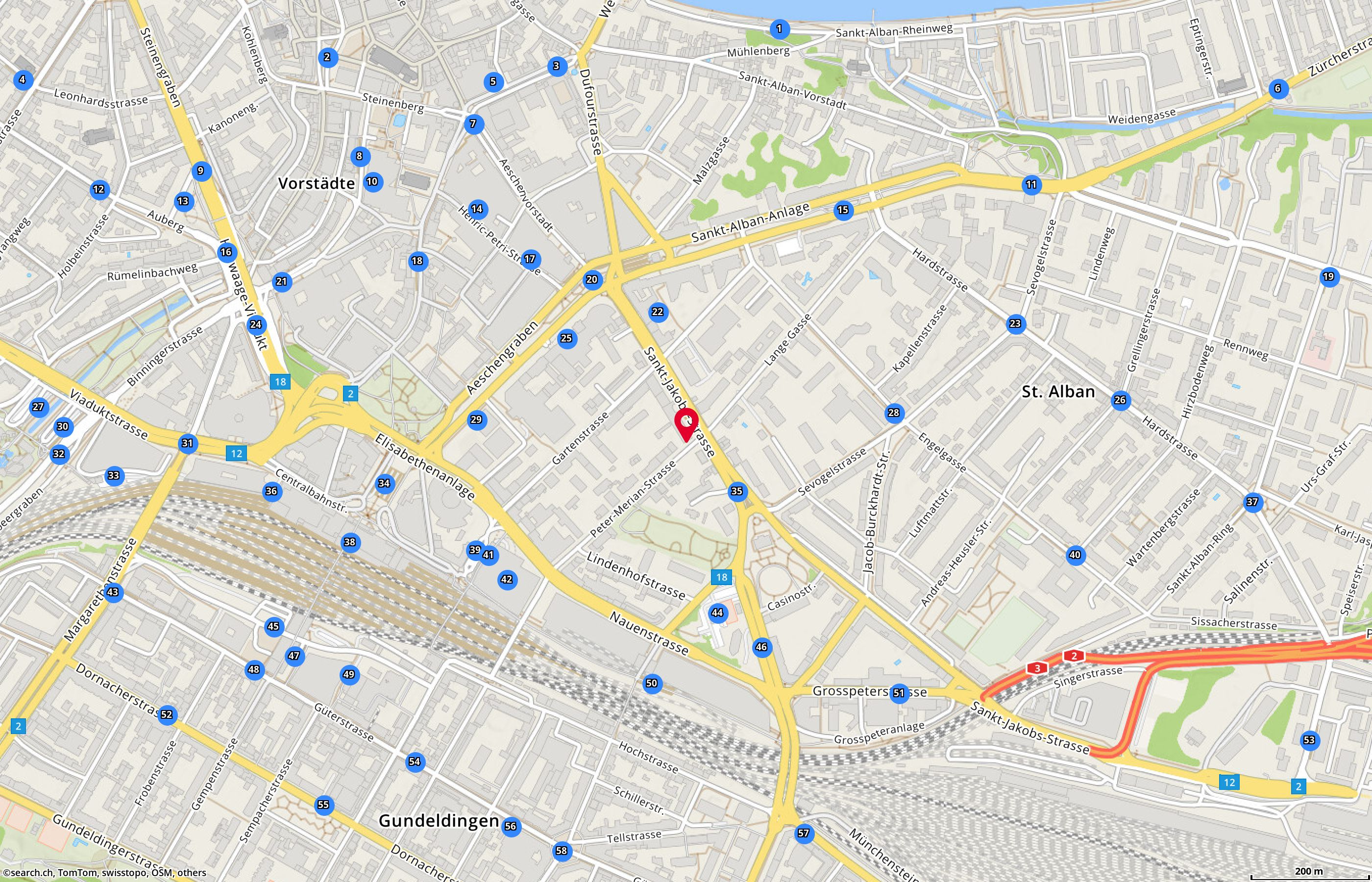 Map: Basel, Peter Merian-Str. 2
