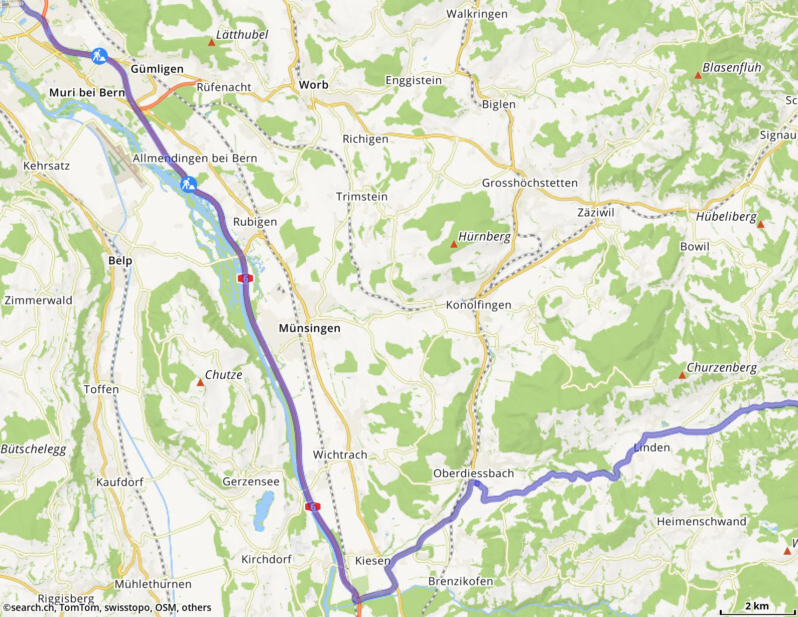 Route from Bern to Röthenbach im Emmental