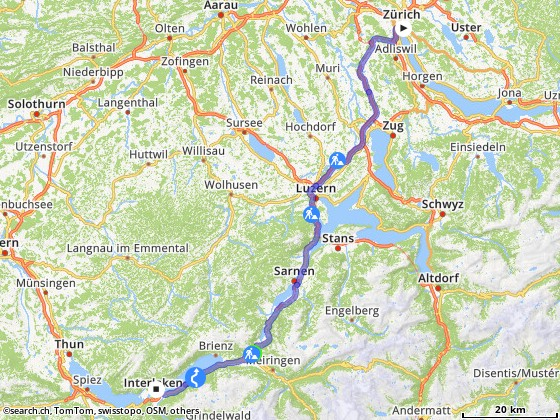 Route from Bahnhof, Zürich Stadelhofen to Interlaken Ost (See) (Station/Stop)