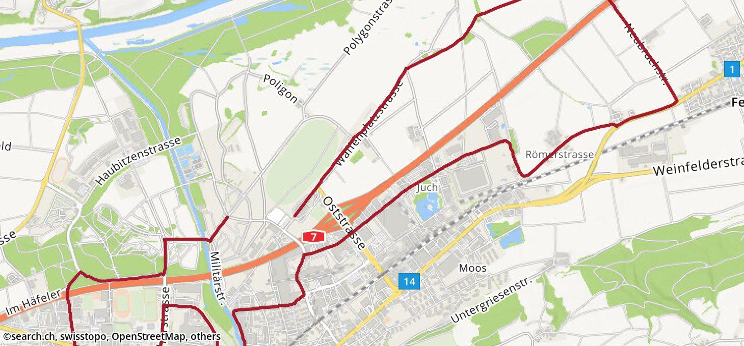 Karte: 1. Etappe Ziel
