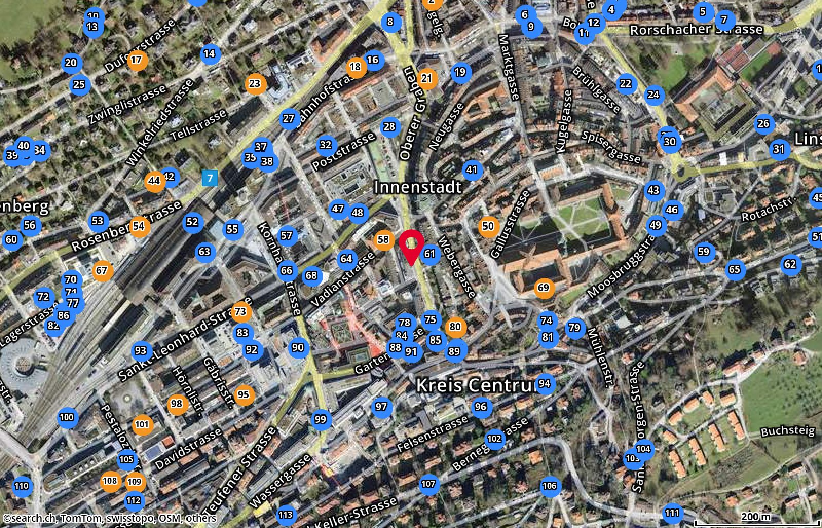 Map: St. Gallen, Oberer Graben 26