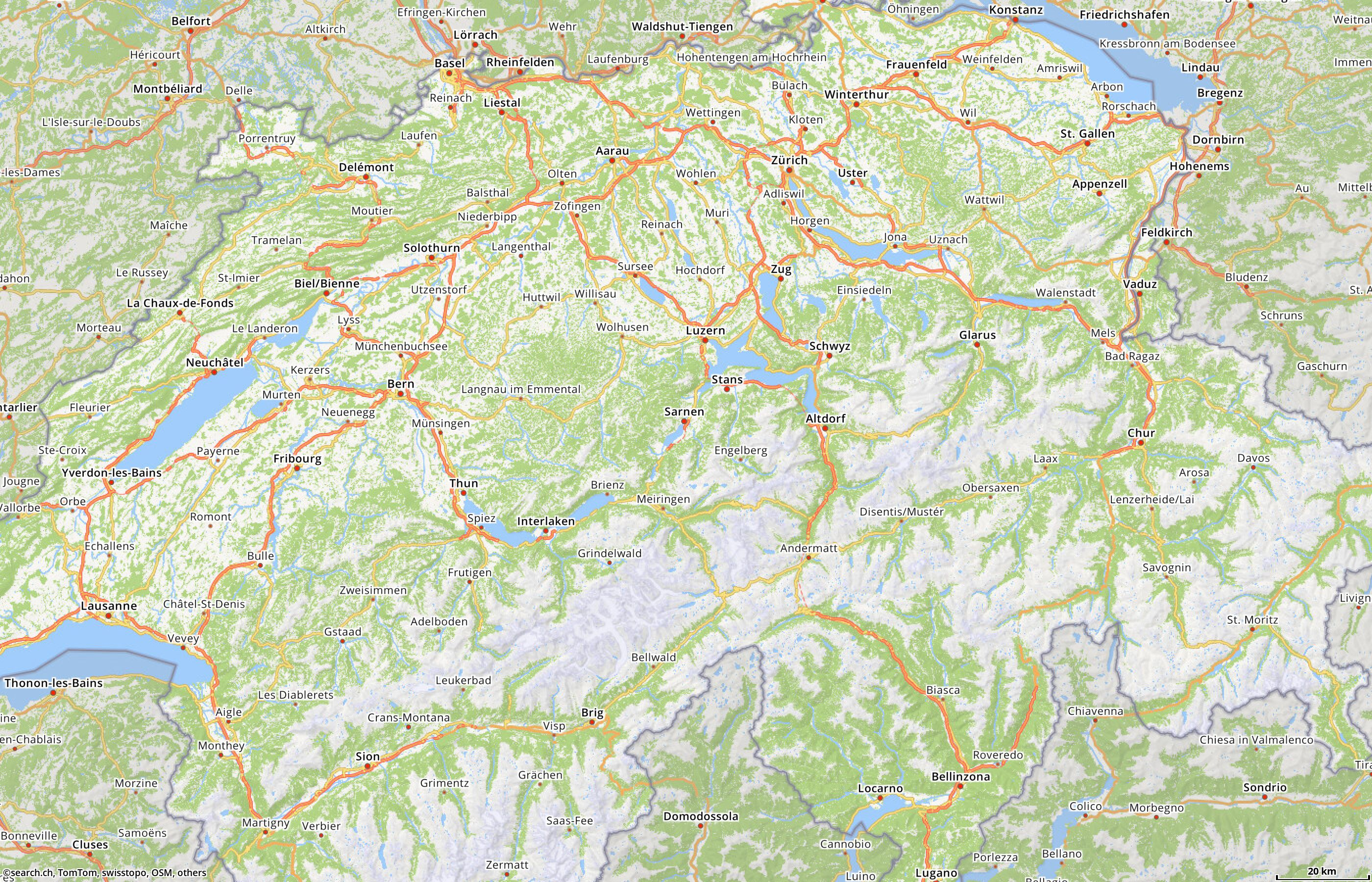 Map of Switzerland with route planner